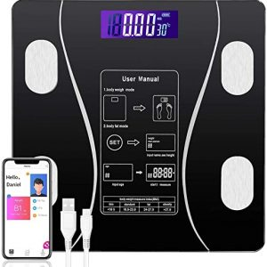 oumandis bluetooth body fat scale smart bmi bathroom scale usb rechargeable