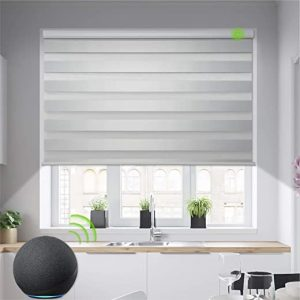 yoolax motorized zebra blinds works with alexa light filtering day and night