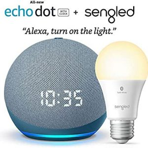 all new echo dot 4th gen with clock twilight blue bundle with sengled